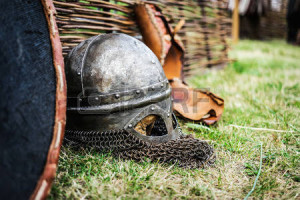43021258-steel-knight-helmet-with-chain-armour-on-grass